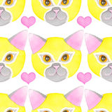 Cat luchador, seamless watercolor pattern. Cat fighter. Luchador or fighter mask. Hand-drawn lucha libre lovely animal in yellow wrestling mask and heart Royalty Free Stock Photo