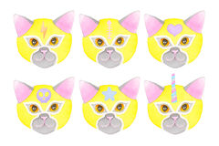 Cat luchador, watercolor illustration. Cat fighters set. Luchador or fighter mask. Hand-drawn lucha libre animal in blue wrestling mask with signs - colorful cat Stock Photo