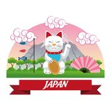 Lucky cat japan culture design. Cat luck lucky japan culture landmark asia famous icon. Colorful design. Vector illustration Royalty Free Stock Photography
