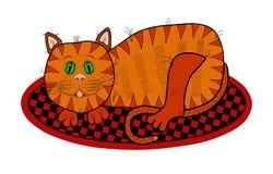 Cat Lying op een Deken royalty-vrije illustratie