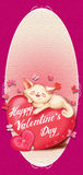 Cat lying on a red pillow - heart, Card Valentine's Day Stock Photography
