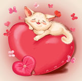 Cat lying on a red pillow - heart. Cute cat lying on a red pillow - heart. Beige background, pink and red butterflies. Greeting Card Valentine's Day Stock Photos