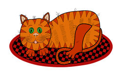 Cat Lying on a Rug Royalty Free Stock Photo