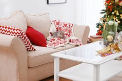 Cat lying on sofa in room decorated for Christmas. Cat lying on sofa in living room decorated for Christmas Royalty Free Stock Photos