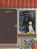 Cat Magic shop. Calendar 2011, year of cat,  vector illustration Stock Photos