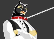 Cat-man. Illustration: cat-man in fetish clothes stands in the intractable pose Stock Image