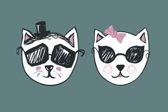 Cat Man woman unisex icon vector for Salon Logo, Restroom, Toilet symbol. Funny door plate. Male and female WC icon. Retro sketch Gents and ladies sign for Stock Images