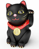 Cat Maneki Neko. Black 3D Illustration Vector Illustration