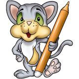 Cat with marker Stock Photography