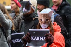 Cat masks on people faces with KARMA sign at hands, during `March for animals` in Riga, Latvia. 24.11.2018. RIGA, LATVIA. Cat masks on people faces with KARMA stock photography