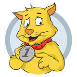 Cat with medal. Cat pointing at his winning medal Royalty Free Stock Photography