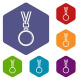 Cat medal icons set hexagon Royalty Free Stock Image