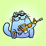 Cat the mercenary professional will carry out the task of any complexity. Vector Illustration. Royalty Free Stock Photos