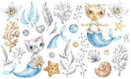 Cat mermaid unicorn Baby cute girl. Watercolor nursery cartoon sea animals, marine magic life.