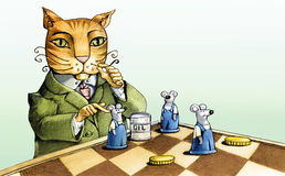 The cat and the mice Stock Photo
