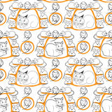 Cat and Mice Seamless Pattern on White Royalty Free Stock Images