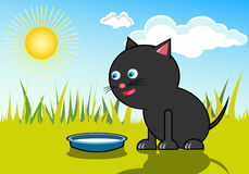 Cat with milk. Black cat with milk in the summertime stock illustration