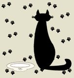 Cat and milk. On a beige background of textile silhouette black cat next to a bowl of milk Royalty Free Stock Image