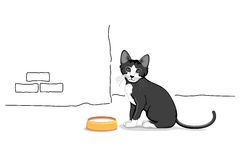 Cat with milk Bowl. Illustration of cat sitting with milk bowl in front Royalty Free Stock Image