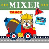 Cat and mixer truck funny animal cartoon,vector illustration. For t shirt and wallpaper or book vector illustration