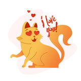 Cat - modern vector phrase flat illustration. Stock Image