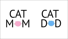 ``Cat mom, cat dad`` text and cats silhouette symbol. Blue and pink colored. ``Cat mom, cat dad`` text and cats ``Cat mom, cat dad`` text and cats silhouette Royalty Free Stock Photography