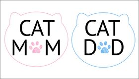 ``Cat mom, cat dad`` text and cats silhouette symbol and paw prints. Blue and pink colored. Background Royalty Free Stock Photography