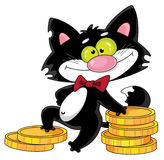 Cat and money. Illustration of a cat and money Royalty Free Stock Images