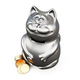 Cat moneybox isolated on a white. 3d Royalty Free Stock Image