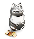 Cat moneybox  on white background. 3d. Royalty Free Stock Photo