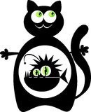Cat with monster fish inside. Illustration of a pleased black cat with a monster fish inside stomach Stock Photography