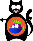 Cat with monster fish inside. Illustration of a pleased black cat with a monster fish inside stomach Royalty Free Stock Photography