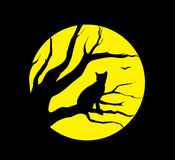 Cat at the moon. Vector silhouette cat at the moon on black background Royalty Free Stock Images