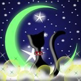 Cat and moon stock illustration