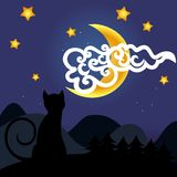 Cat and moon Stock Photography