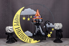 The Cat On The Moon. A black cat sitting on the moon for the Halloween holiday Royalty Free Stock Photos