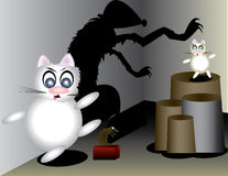 Cat and the mose. Funny stupid cat and smart cat in fight with a mouse Stock Photos