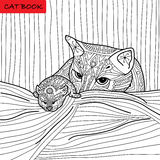 Cat mother and her kitten - coloring book for adults - zentangle cat book Royalty Free Stock Images
