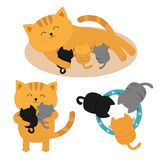 Cat mother laying on the floor feeding kittens. Father hugging two kitten Kitty hug. Animal family. Three kittens drinking milk fr. Om bowl. Cute cartoon Royalty Free Stock Photography