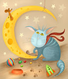 Cat and mouse. Illustration of a cute cat and mouse Royalty Free Stock Photos