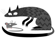 Cat and mouse. Illustration of  threatening looking cat watching a mouse isolated on a white background. Vector EPS format available Stock Photos