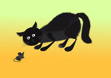 Cat and mouse. Black cat faces in the gray mouse on a yellow background Royalty Free Stock Photo