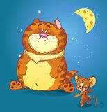 Cat and mouse. The illustration shows a large red cat with a small funny little mouse. They talk under the moon at night about tasty food Royalty Free Stock Photos