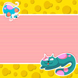 Cat and mouse. Cartoon cat and a mouse on a background with space for text Royalty Free Stock Image