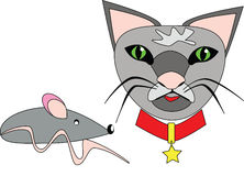 Cat and mouse. Illustration of a cat with red collar and a mouse Stock Photos