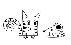 Cat and mouse. A vector illustration for decoration Royalty Free Stock Photography