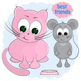 Cat and mouse. best friends. cartoon vector illustration. vector illustration