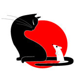 Cat and mouse. Black cat looks at a frightened mouse Royalty Free Stock Photography