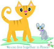 Cat and Mouse Can Live in Peace Royalty Free Stock Photos