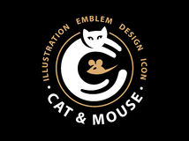 Cat and mouse catch illustration Royalty Free Stock Photos